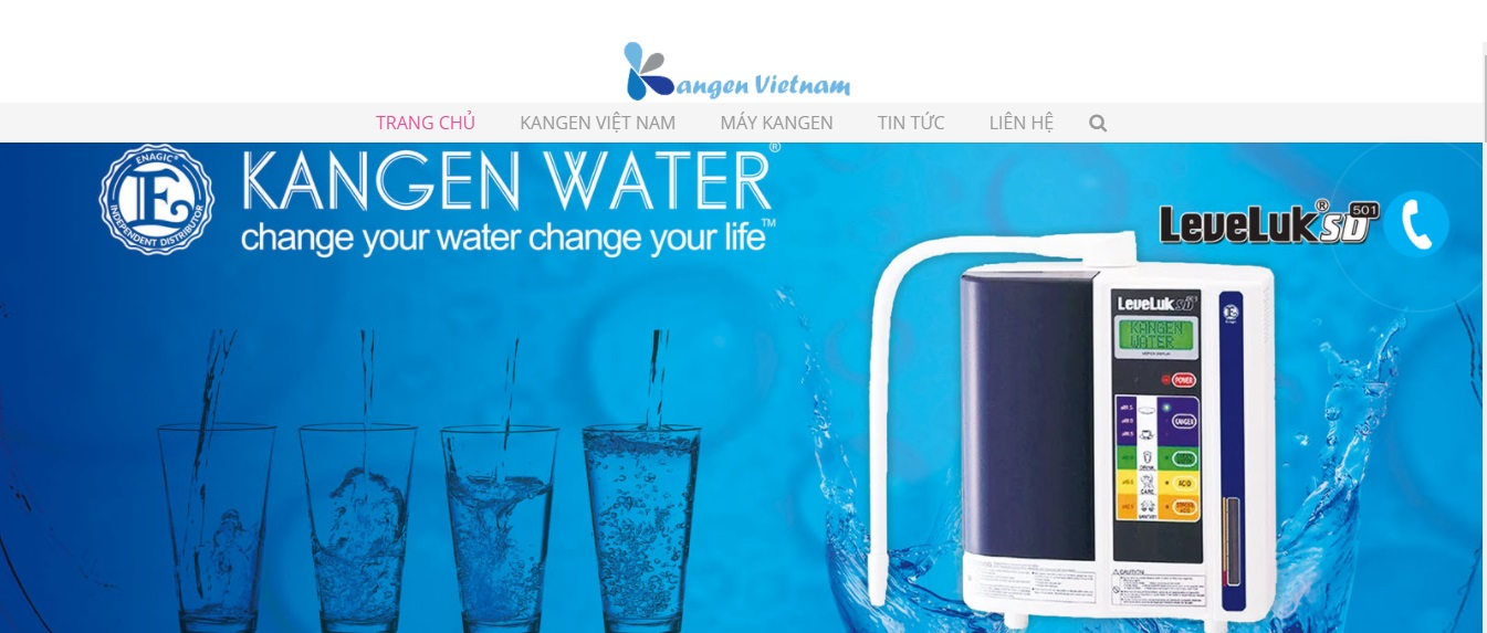 Trang website bán máy lọc nước ion kiềm Kangen chính hãng