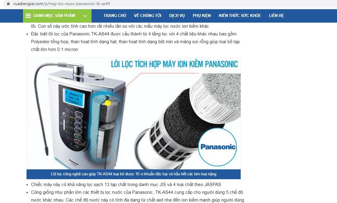 website bán máy lọc nước panasonic không uy tín